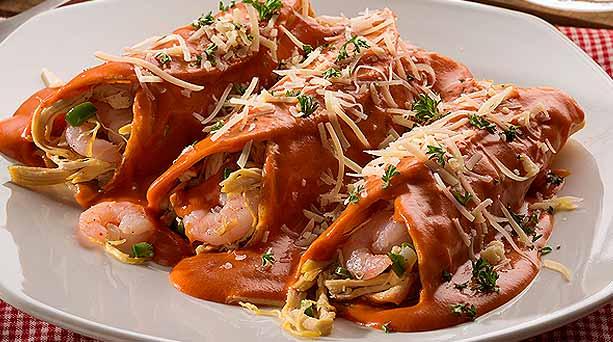 Enchiladas de pollo y camarón